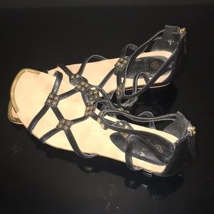 Isola Black With Gold Accent Sandals- Size 9.5